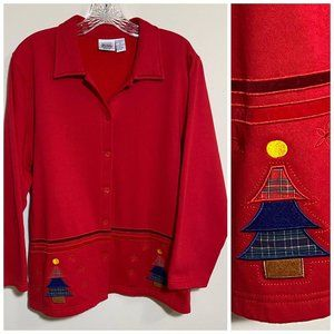 Jason Maxwell Red Christmas Button Front Cardigan